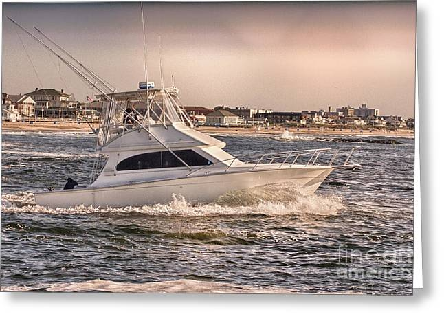 Beach Photograph Greeting Cards - HDR Fishing Boat Ocean Beach Beachtown Boadwalk Scenic Photography Photos Pictures Boating Sea Pics Greeting Card by Pictures HDR