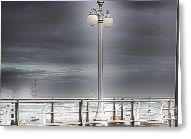 Oceanview Greeting Cards - HDR Lamp Post Beach Beaches Boardwalk Ocean Sea Effect Photos Pictures Photo Picture Photography New Greeting Card by Pictures HDR