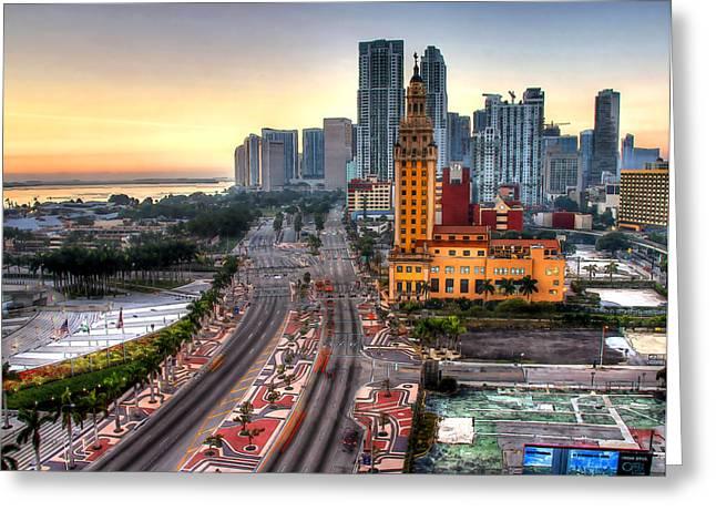 Myeress Greeting Cards - HDR Miami Downtown Sunrise Greeting Card by Joe Myeress