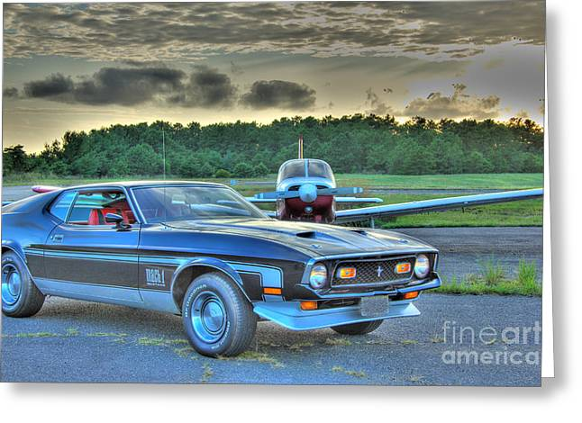 Buy Sell Photo Greeting Cards - HDR Mustang Plane Photo Pictures Photography Gallery New Sunset Hi Def Cool Muscle Car Cars Buy Sell Greeting Card by Pictures HDR