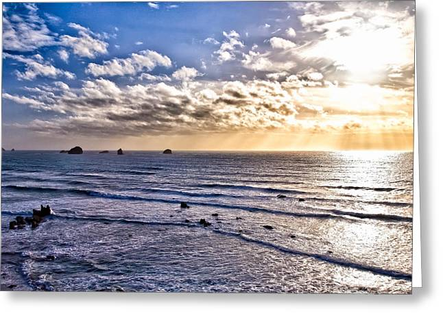 Hdr Landscape Greeting Cards - HDR Ocean Sunest Greeting Card by John K Sampson