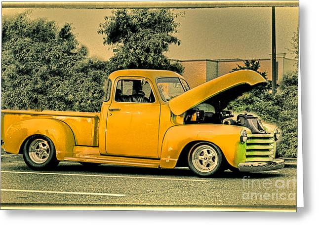 Hdr Photo Greeting Cards - HDR Pick Up Truck Old School Photo Pictures New Buy Sell Selling Photography Art Car Cars Vintage  Greeting Card by Pictures HDR