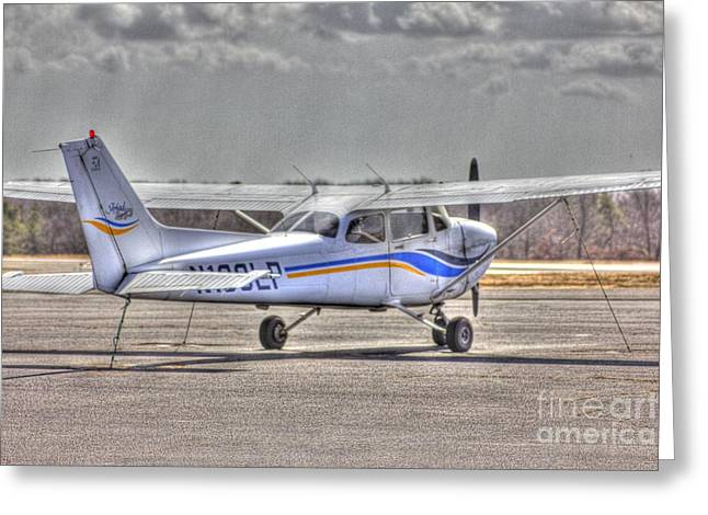 Hdr Photo Greeting Cards - HDR Plane Tail Back Parked but Ready to Go Greeting Card by Pictures HDR