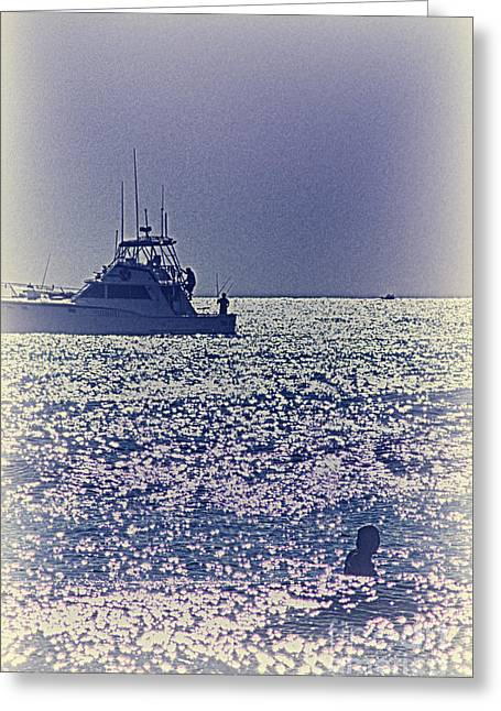 Buy Sell Photo Greeting Cards - HDR Purple Haze Boat Boats Sea Ocean Photos Photography Buy Sell Selling Gallery Pictures New Photo Greeting Card by Pictures HDR