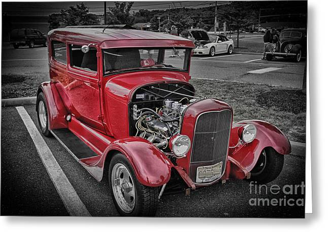 Hdr Pictures Greeting Cards - HDR Red Hot Rod Vintage Classic Car Cars Photos Pictures Photography Cool Pics Photo Picture New Pic Greeting Card by Pictures HDR