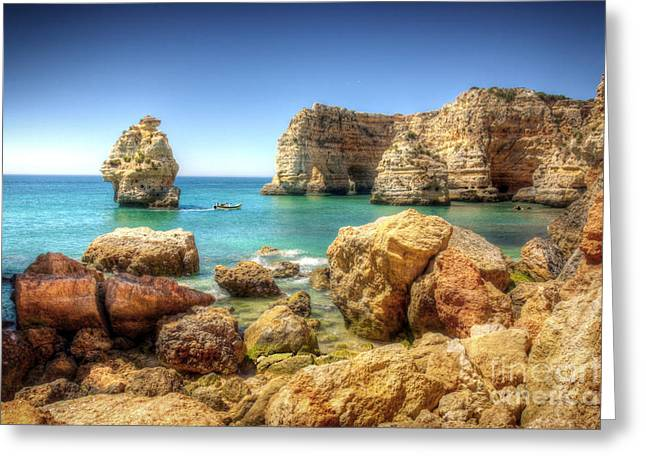 Algarve Greeting Cards - HDR Rocky coast Greeting Card by Carlos Caetano