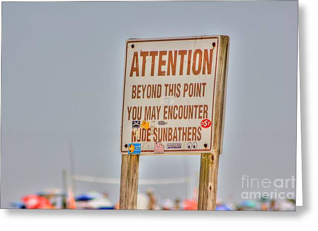 Buy Sell Photo Greeting Cards - HDR Sunbather Sign Beach Beaches Ocean Sea Photos Pictures Buy Sell Selling New Photography Pics  Greeting Card by Pictures HDR