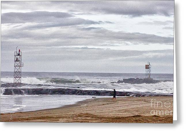 Oceanview Greeting Cards - HDR Two Light Towers Beach Beaches Ocean Sea Seaview Oceanview Photos Pictures Photography Photo Pic Greeting Card by Pictures HDR