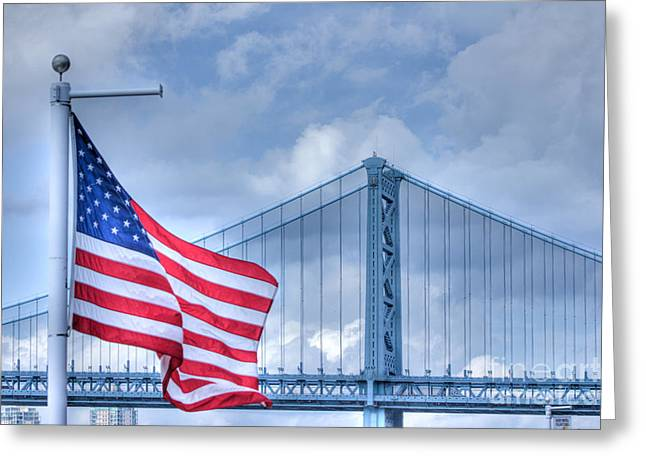 Pictures Buy Photography Greeting Cards - HDR USA American Flag Symbolic Bridge Scenic Patriotic Photos Picture Buy Sell Selling Art  Greeting Card by Pictures HDR