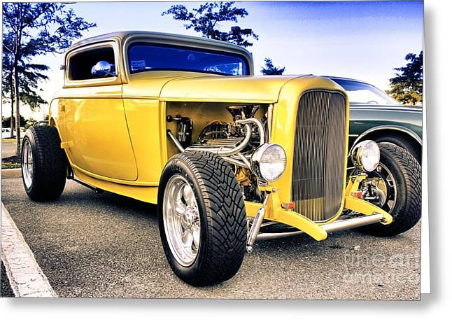 Buy Sell Photo Greeting Cards - HDR Yellow Hot Rod Car Cars Auto Buy Sell Selling Photos Pictures Classic Old School Art New Cool  Greeting Card by Pictures HDR