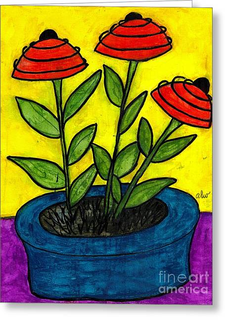 Survivor Art Greeting Cards - He Gave Me A Blue Pot and I said Thank you Honey Greeting Card by Angela L Walker