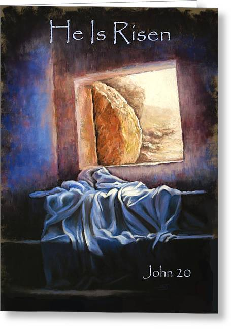 Bible Pastels Greeting Cards - He Is Risen Greeting Card by Susan Jenkins