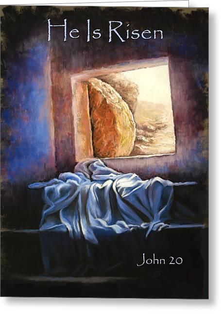 Jesus Pastels Greeting Cards - He Is Risen Greeting Card by Susan Jenkins