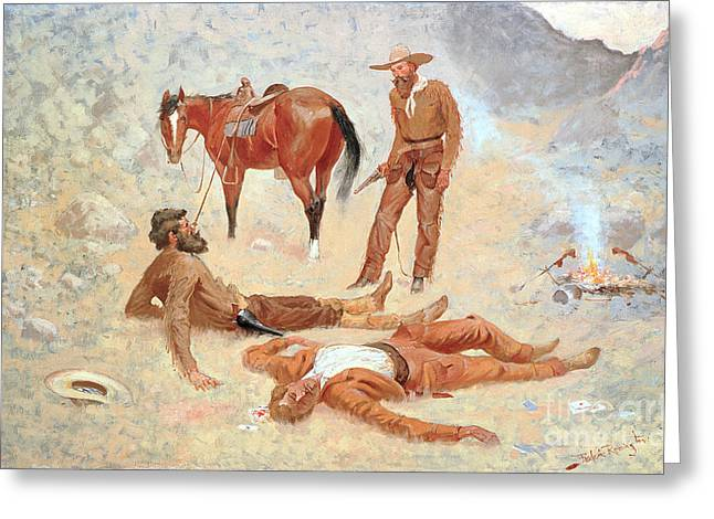 Where Greeting Cards - He Lay Where he had Been Jerked Still as a Log  Greeting Card by Frederic Remington
