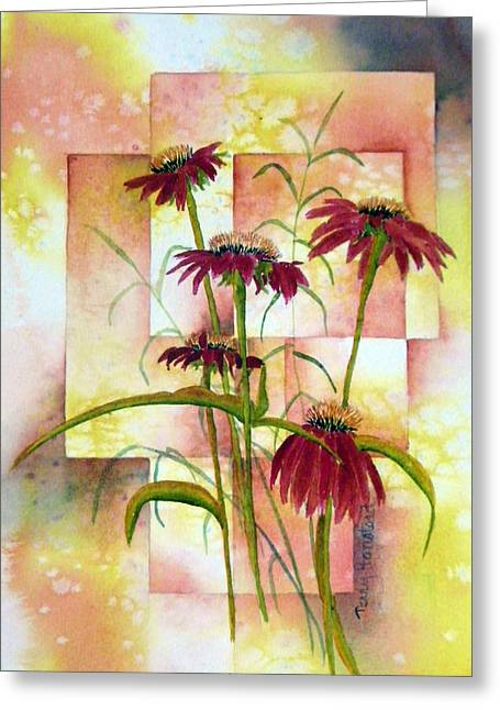 Abstracted Coneflowers Greeting Cards - He Loves Me Greeting Card by Terry Honstead
