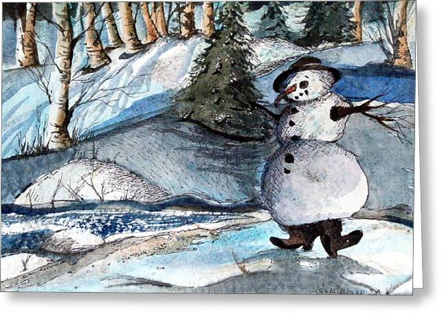 Birch Tree Drawings Greeting Cards - He was made of Snow but the children know Greeting Card by Mindy Newman