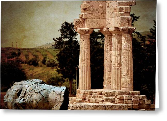 Pollux Greeting Cards - Head at Temple of Castor and Pollux Greeting Card by RicardMN Photography