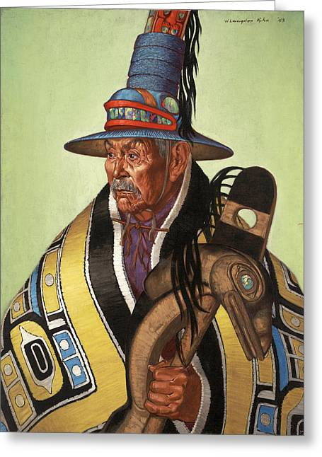 North American Indian Ethnicity Greeting Cards - Head Chief Of The Tlingit Holds Greeting Card by W. Langdon Kihn