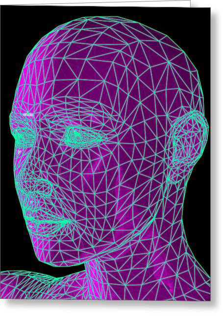 Face Recognition Photographs Greeting Cards - Head Contour Map, Art Greeting Card by Laguna Design