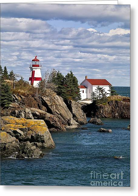 East Quoddy Lighthouse Greeting Cards - Head Harbour Lighthouse Greeting Card by John Greim