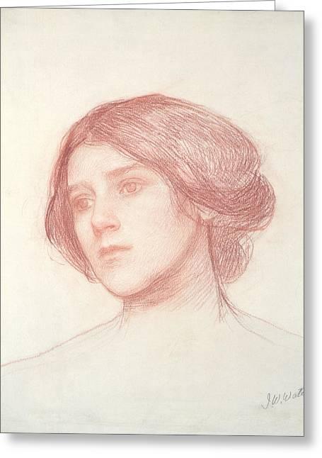 Pre-raphaelites Drawings Greeting Cards - Head of a Girl Greeting Card by John William Waterhouse