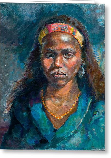 African-american Paintings Greeting Cards - Head of a Woman Greeting Card by Ellen Dreibelbis