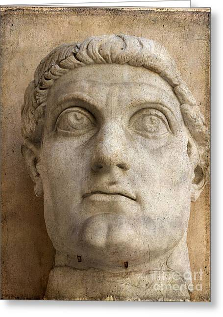 Colossal Greeting Cards - Head of Emperor Constantine. Rome. Italy Greeting Card by Bernard Jaubert