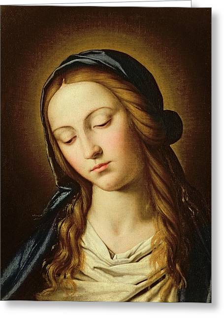 Devotional Greeting Cards - Head of the Madonna Greeting Card by Il Sassoferrato