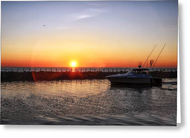 Boats In Water Greeting Cards - Heading Back Greeting Card by Mark Papke