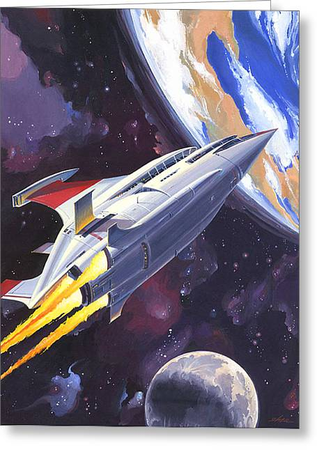 Outer Space Paintings Greeting Cards - Heading Home Greeting Card by Shawn Shea