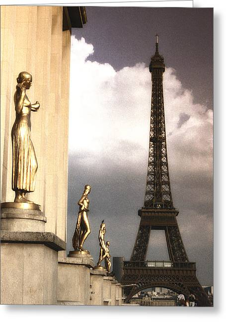 Vintage Eiffel Tower Greeting Cards - Heading to the Eiffel Toower Greeting Card by Andrew Soundarajan
