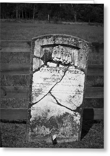 April 9 1865 Greeting Cards - Headstone of Lafayette Meeks Greeting Card by Teresa Mucha