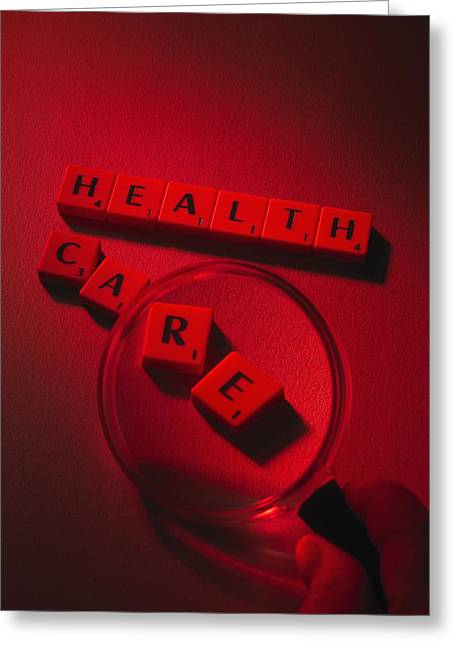 Scrabble Greeting Cards - Healthcare Research, Conceptual Image Greeting Card by Tek Image