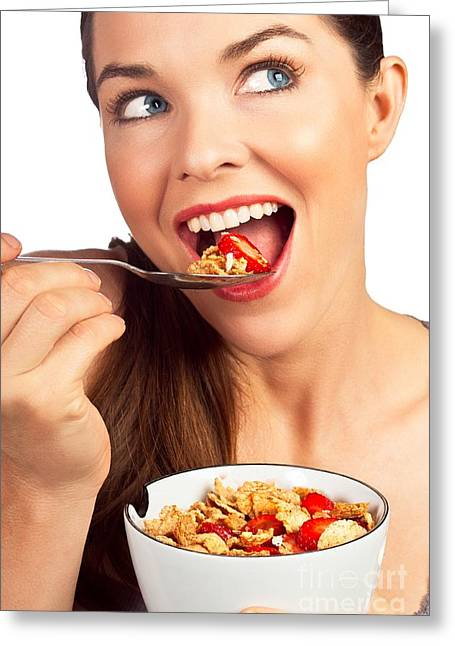 Beautiful Woman Greeting Cards - Healthy snack Greeting Card by Johan Larson