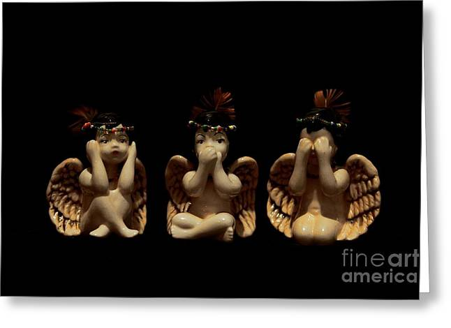 Hear No Evil Greeting Cards - Hear No Evil Speak No Evil See No Evil Greeting Card by Denise Oldridge