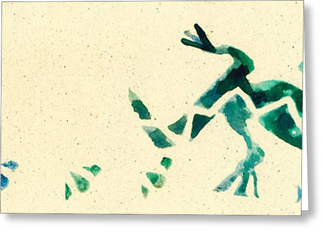 Lino Paintings Greeting Cards - Hear the Lizard Greeting Card by Annie Alexander