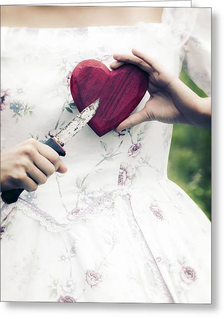 Period Greeting Cards - Heart And Knife Greeting Card by Joana Kruse