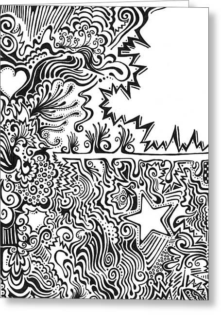 Negative Mixed Media Greeting Cards - Heart and Star abstract Greeting Card by Mandy Shupp