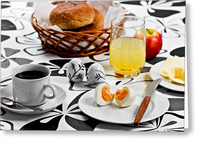 Egg-cup Greeting Cards - Heart Breakfast Greeting Card by Gert Lavsen