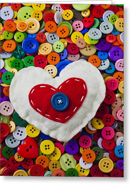 Mend Greeting Cards - Heart buttons Greeting Card by Garry Gay