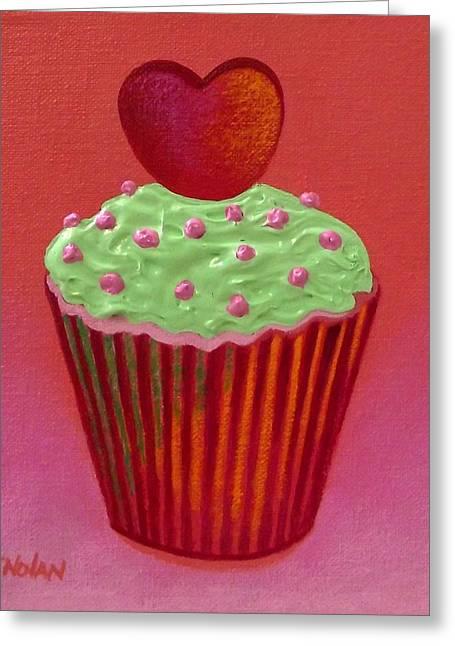 Cupcake Paintings Greeting Cards - Heart Cupcake  Greeting Card by John  Nolan