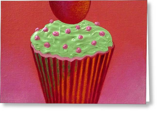 Menu Paintings Greeting Cards - Heart Cupcake  Greeting Card by John  Nolan