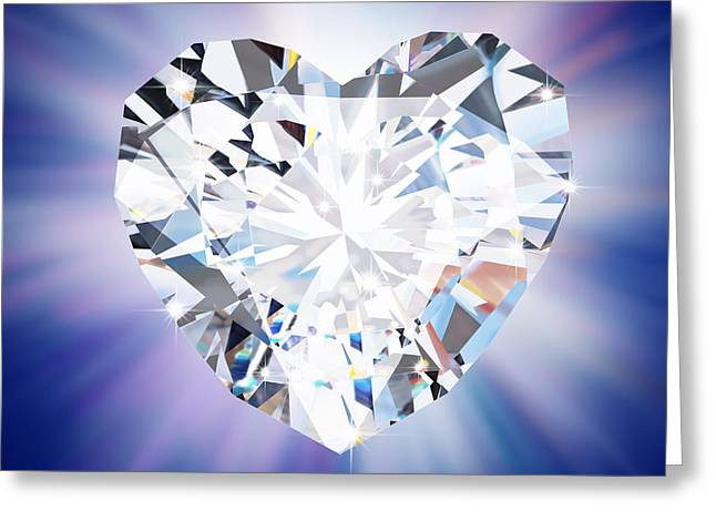 Jewelry Jewelry Greeting Cards - Heart Diamond Greeting Card by Setsiri Silapasuwanchai