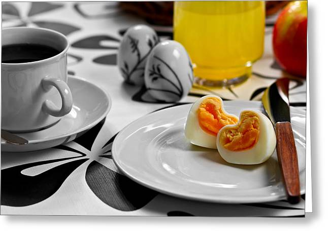 Egg-cup Greeting Cards - Heart Eggs Greeting Card by Gert Lavsen