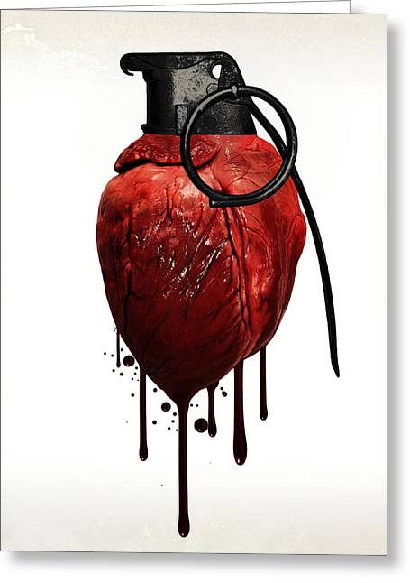 Emotions Mixed Media Greeting Cards - Heart grenade Greeting Card by Nicklas Gustafsson
