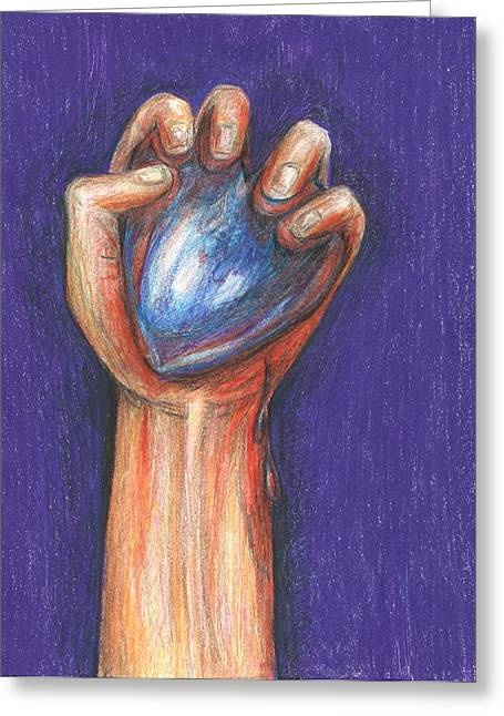 Drip Drawings Greeting Cards - Heart In Hand Greeting Card by Tracy Fitzgerald