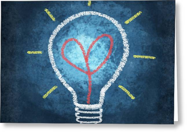Handwriting Greeting Cards - Heart In Light Bulb Greeting Card by Setsiri Silapasuwanchai