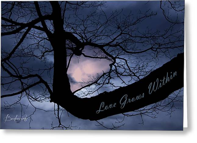 Robin Lewis Greeting Cards - Heart in Tree Love Grows Within  Greeting Card by Robin Lewis
