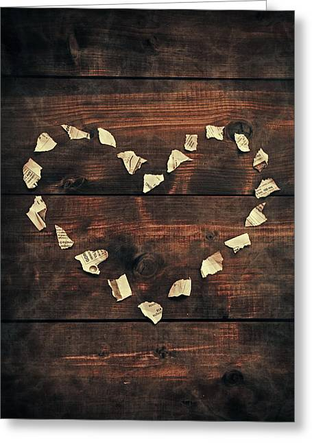 Shredded Greeting Cards - Heart Greeting Card by Joana Kruse