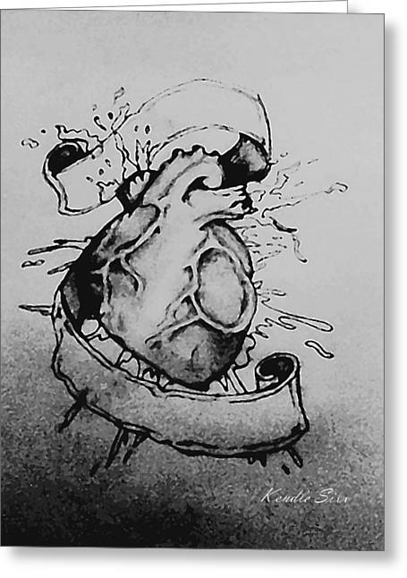 Biological Drawings Greeting Cards - Heart Greeting Card by Kendle Sixx